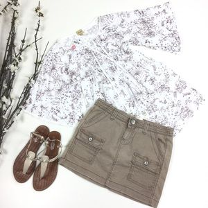 Marlow Khaki Linen Blend Mini Cargo Skirt
